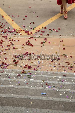 multicolored flower petals on steps
