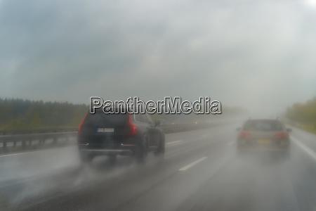 motorway during rain