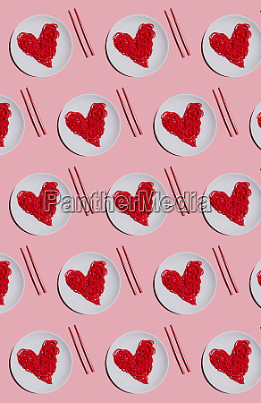 pattern of plates with red colored