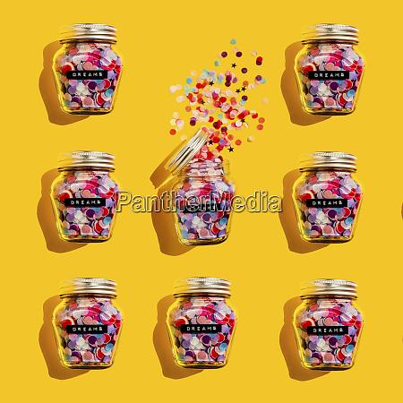jars of colorful confetti