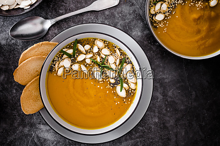 overhead view of pumpkin soup with