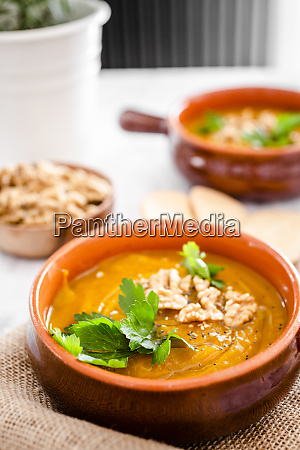 pumpkin soup with walnuts and parsley