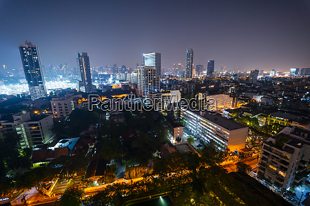 thailand bangkok illuminated city downtown at