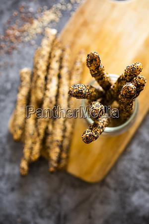 fresh italian grissini breadsticks with sesame