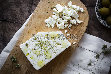 feta cheese on cutting board