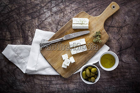 cutting board and fresh ingredients for