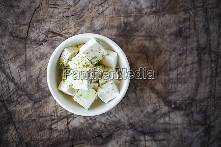 bowl of sliced feta cheese with