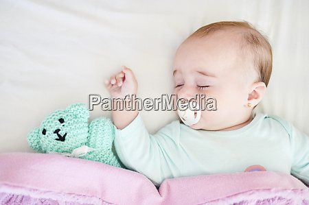 portrait of sleeping baby girl with