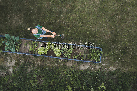 drone shot of woman standing on