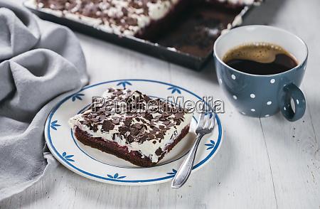 mug of coffee and slice of