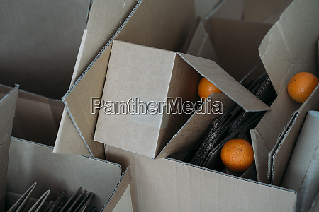 three oranges on cardboard boxes