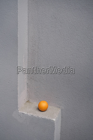 single orange on a gray wall