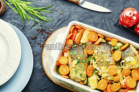 grilled fish with roasted vegetables