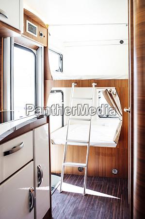 small bedroom inside motor home