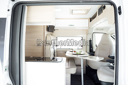 interior of white clean motor home