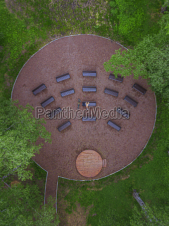 aerial view of woman relaxing on
