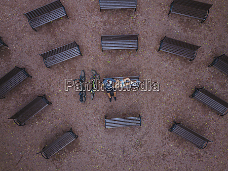 aerial view of woman lying on