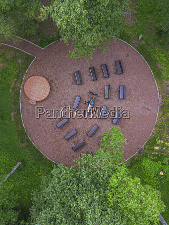 aerial view of couple relaxing on