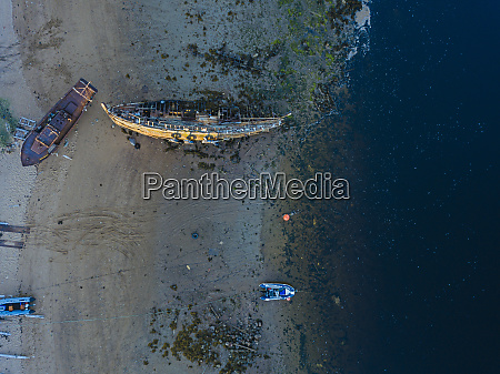 aerial view of old boats abandoned