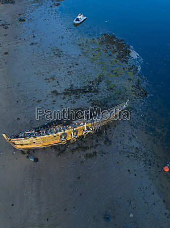 aerial view of old boat abandoned