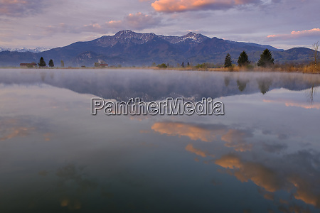 germany bavaria schlehdorf mountains reflecting in