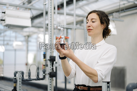 businesswoman holding model