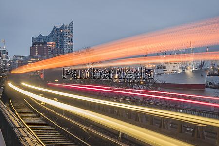 germany hamburg train light trails along