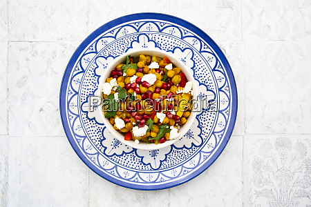 bowl of vegetarian salad with chick