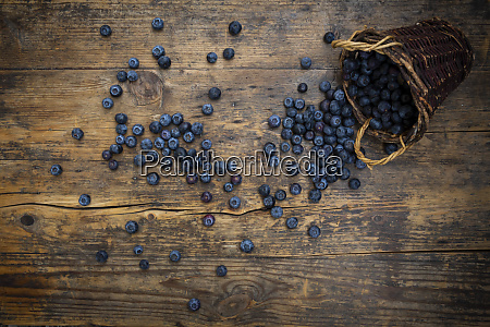 fresh blueberries spilling from wicker basket