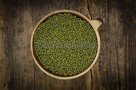 bowl of green organicmung beans