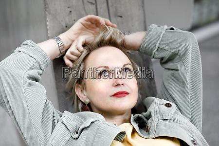 close up of thoughtful mature woman