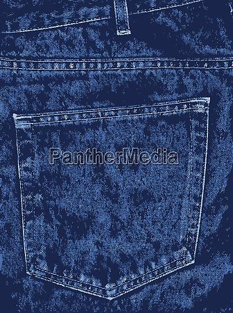 blue denim pocket