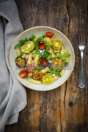 bowl of pasta salad with grilled