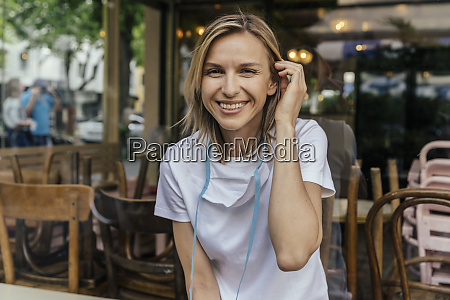portrait, of, smiling, woman, with, protective - 28756535