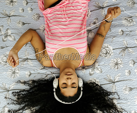 top view of beautiful young woman