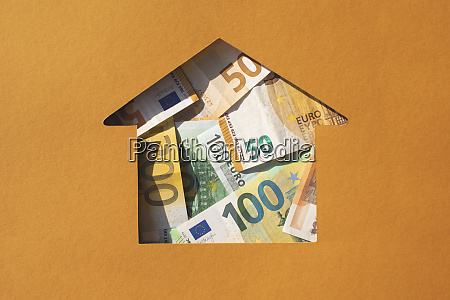 house shaped hole filled with euro