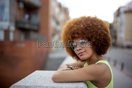 close up of woman with afro