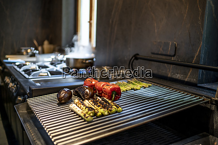 grilled vegetables in restaurant kitchen