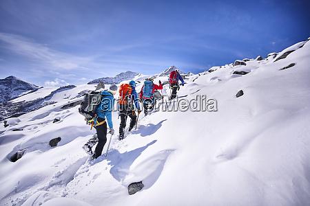 group of mountaineers grossvendediger tyrol austria
