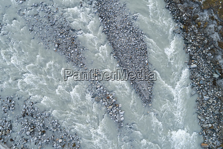 drone view of orlegna river flowing