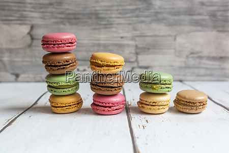 stacks of colorful macaroon biscuits