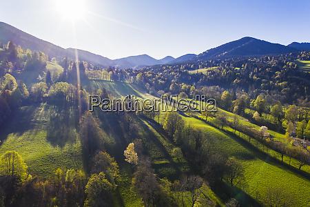 germany bavaria gaissach sun shining oversonntratnmountain