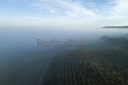 germany bavaria drone view offranconianheights shrouded