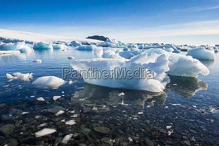 ice floating along shore of hope