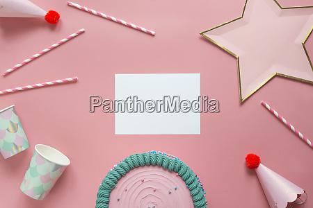 studio shot of birthday cake blank