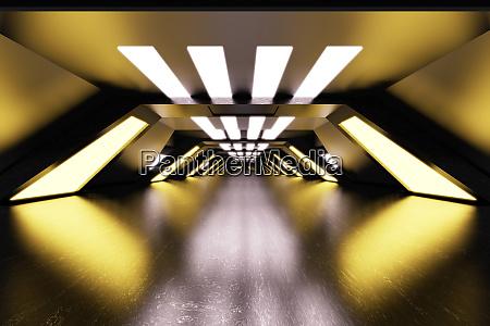 three dimensional render of futuristic corridor
