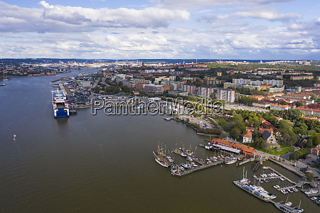 sweden gothenburg aerial view of port