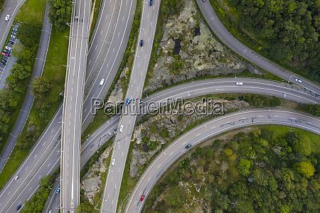 sweden gothenburg aerial view of highways