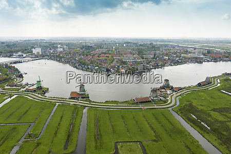 netherlands north holland zaandam aerial view