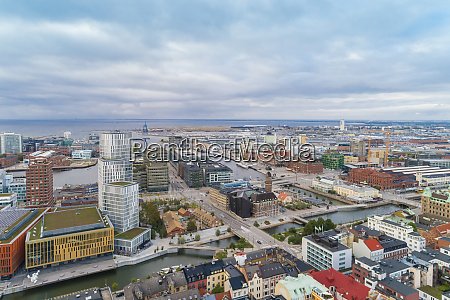 sweden scania malmo aerial view of